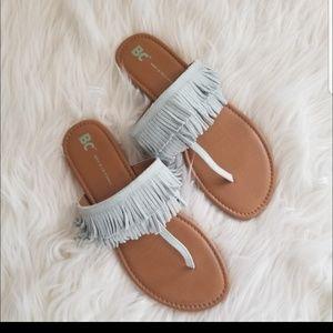 Boho Blue Suede Fringed Leather Flip Flops